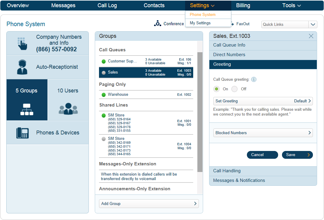 RingCentral Office Reference Guide Groups and Call Queues Call Queue Greetings The Auto-Receptionist greets callers with a personal introductory message when they call a Group within your company.