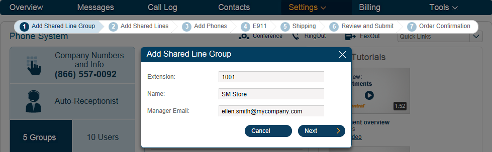 RingCentral Office Reference Guide Groups and Call Queues Shared Lines 1 The Shared Lines feature allows calls made to one phone number to be answered by up to 16 phones is a designated group.