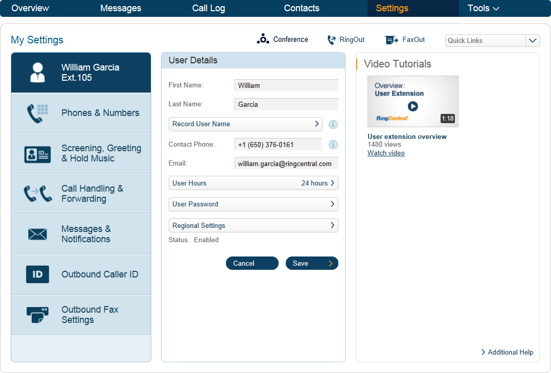 RingCentral Office Reference Guide Settings for Admins and Users Edit User Information Users As a User, you can change your contact info, voicemail greeting, call handling, user hours, password, and