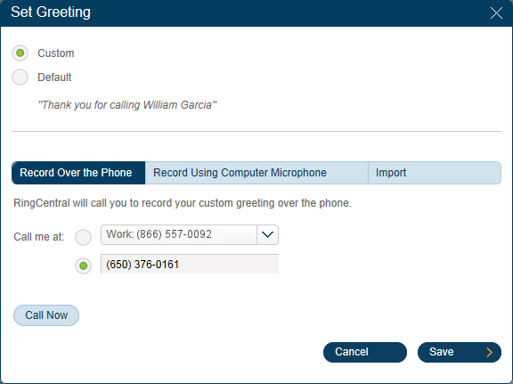RingCentral Office Reference Guide Settings for Admins and Users Set up Your Greetings Users Your RingCentral system comes with a default personal greeting such as: Thank you for calling (user name).