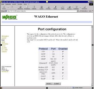 Fieldbus Controller 750-841 85 Programming the PFC with WAGO-I/O-PRO CAA 6. A list of all protocols supported by the controller is displayed. The BootP protocol is activated by default.
