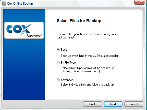 Configuring Cox Business Premium Online Backup 3. Online Backup will prompt you to select files for your initial backup.
