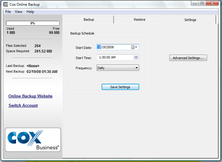 Configuring Cox Business Premium Online Backup 6. Settings tab: You can make changes to your backup schedule on this screen: start date; start time; and frequency.