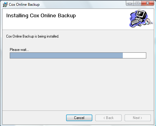 Installing Cox Business Premium Online Backup 6. This screen confirms that Online Backup is ready to install. Click Next to proceed. 7.