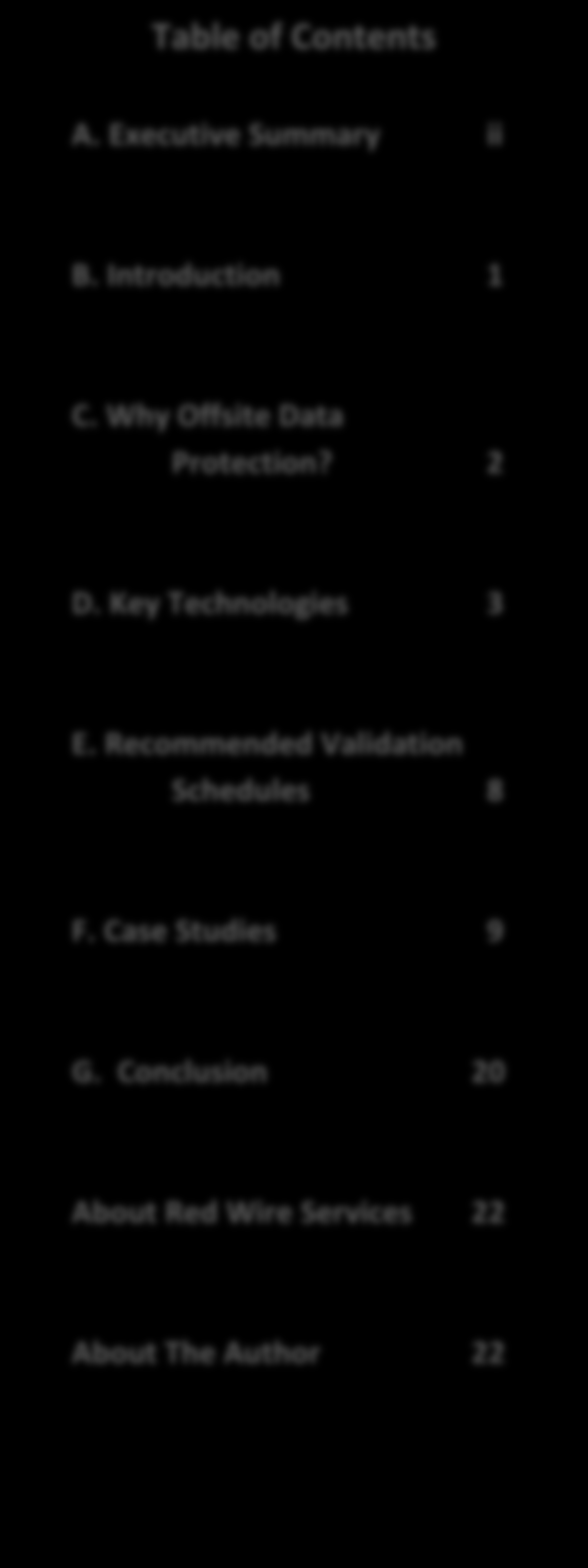 Table of Contents A. Executive Summary ii B. Introduction 1 B.