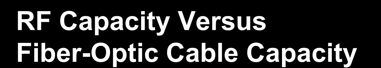 RF Capacity Versus Fiber-Optic Cable Capacity Achievable Fiber-Optic Cable Capacity Per Cable (Area Denotes Capacity) Additional