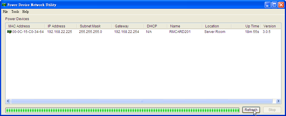 Figure 1. The main window of the Power Device Network Utility program. 4. Select the Remote Management Card you are setting up.