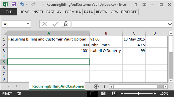 19.4 Sample File The following sample file contains two payments for customers with numbers 1000 and 1001 13. Recurring Billing and Customer Vault Upload, v1.