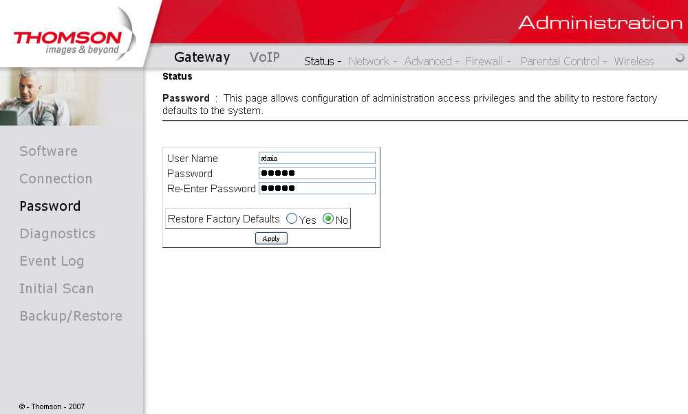 Fig. 10 Gateway\Status\Password To change the password: type the