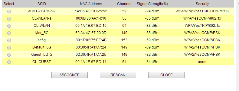 4. Web Management: Operation Mode Settings Click here to select SSID for Association or Signal Survey For antenna alignment. It will display signal To connect with the selected SSID.