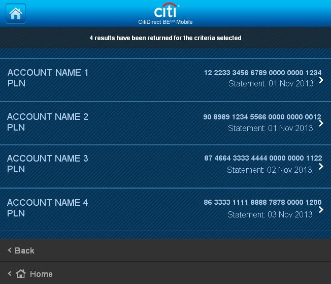 If the number of accounts exceeds 10, search criteria need to be specified; if such criteria are not entered, the user will be redirected to the screen displaying a list of accounts.