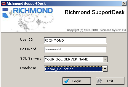 3 Logging-In To login to the Main SupportDesk Windows Client: Programs Richmond Systems SupportDesk SupportDesk Both the Blank (rsupdesk) and Demonstration (Demo_Education) databases have a user