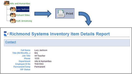 6.6 Printing from the CMDB Clicking the Print button with an Item Selected creates a pre-configured attribute report for that item (and its children if