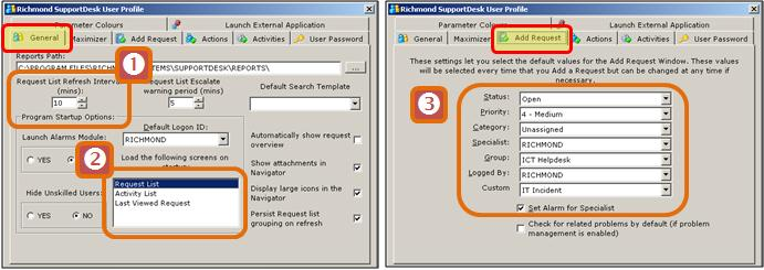 8.5 Setting up a User Profile (Defaults) A user profile controls the default settings for a Specialist when logging a call, adding an action etc.