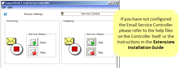 18.5 Email Service Controller To process emails the Email Service Controller Service needs to be running (started):
