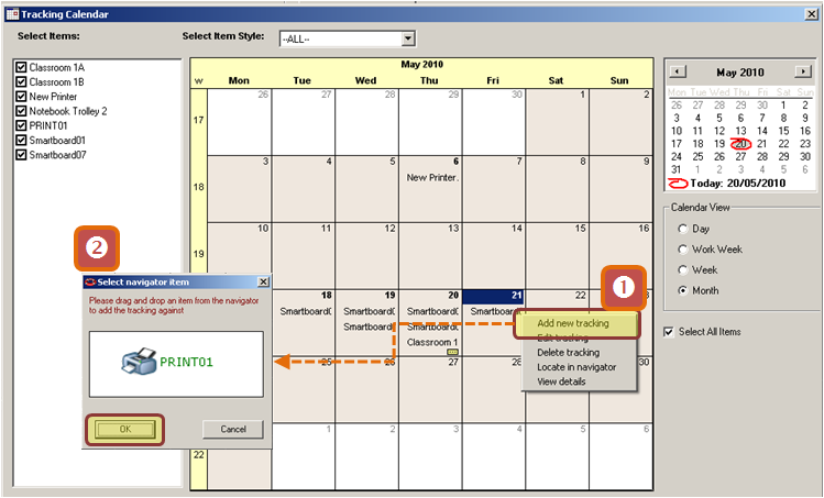 22.4 The Tracking Calendar The Tracking Calendar shows in day/week/month view which items are on-loan, in-repair or otherwise unavailable. In day/week view the tracking s statuses are colour coded.