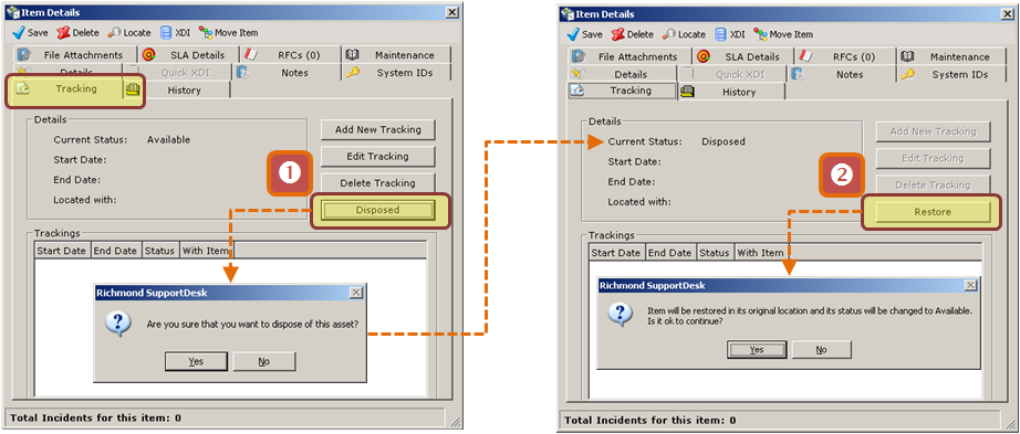 22.5 Asset Disposal When you dispose of an Asset in SupportDesk it moves to a pre-defined area of the CMDB Navigator.