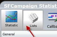100 CAMPAIGN STATISTICS WINDOW The Lists tab gives in depth information of all the