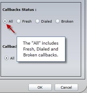 108 CALLBACK MANAGER The Callbacks Status is where
