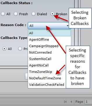109 CALLBACK MANAGER Using the Dialed option, the manager can