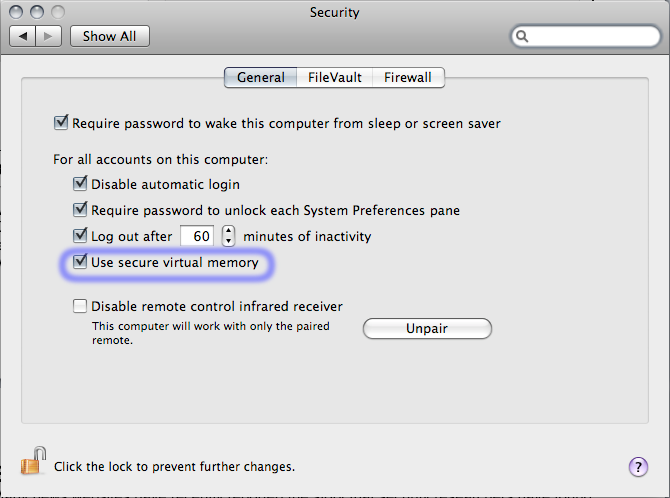 Figure 5: Enabling secure virtual memory Luckily, a solution to this problem is incredibly simple. From the security pane in System Preferences tick Use secure virtual memory.