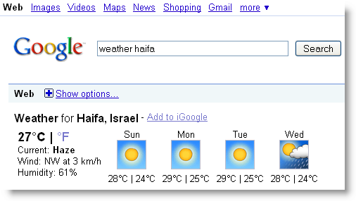 More Structured Results Google Weather onebox: no need to click to get full