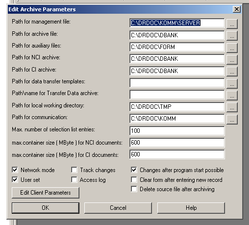 "Part 4: Set up archive - 251-14.7.2 Set up paths for C/S archives: Call ""management/ edit archive parameter."