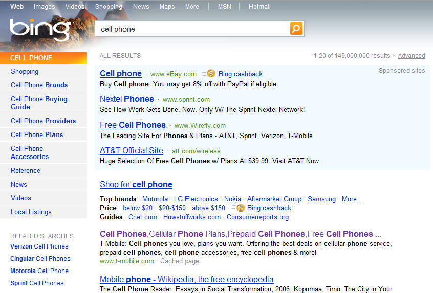 Bing search of cell