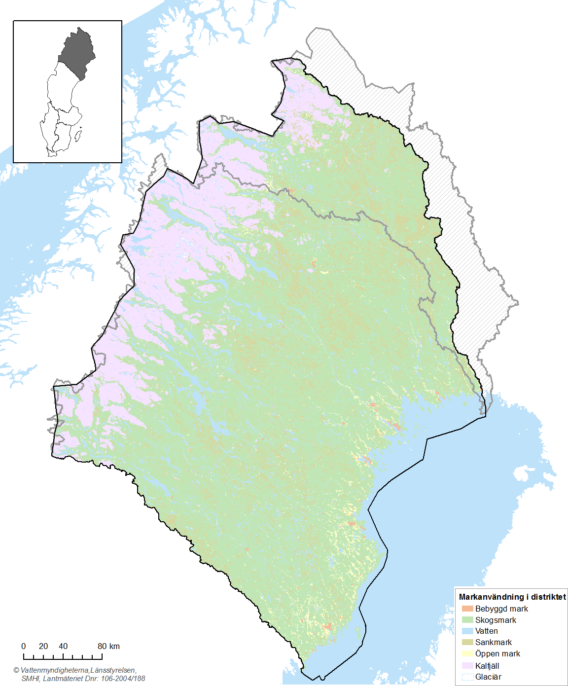 4 Conditions in the water district The Bothnian Bay water district makes up the most northerly part of Sweden and comprises 30 main river basins in the county of Norrbotten and the most of the county