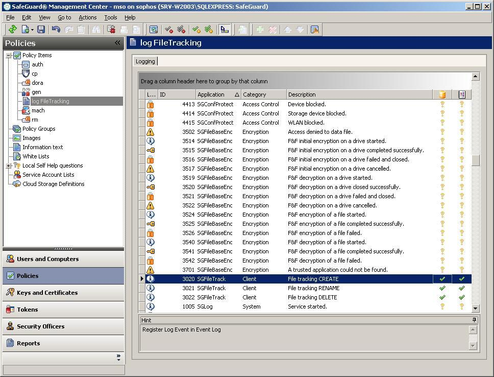 SGN DX improvements File Tracking Logging of file access events on removable media Dedicated SO