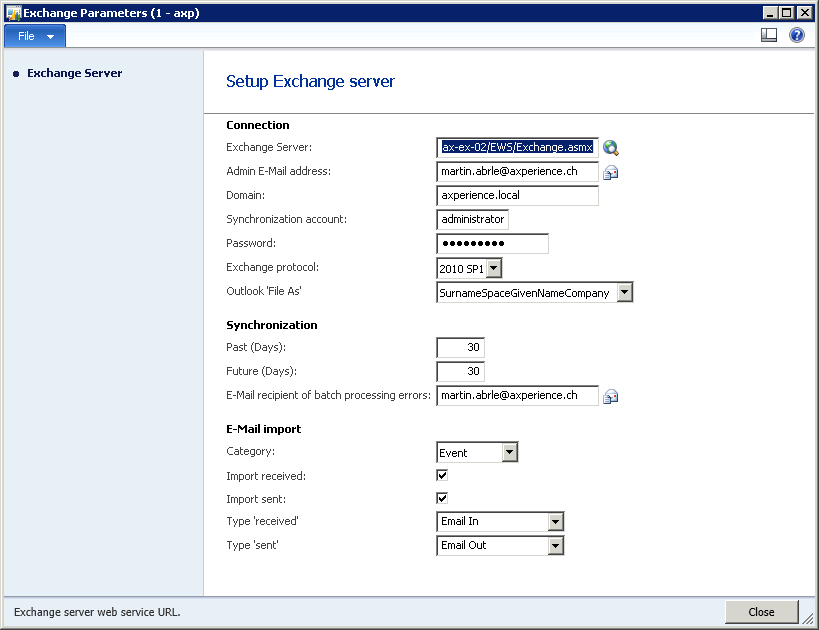 2 Settings 2.1 Exchange Parameters Exchange Parameters form is used to set general integration parameters.
