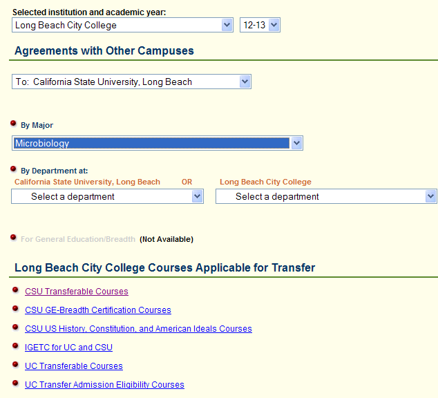 This example uses a student planning to transfer from Long Beach City College to pursue a B.S. in Microbiology at CSULB. Notice how the search fields are populated.