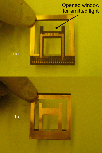 70 Figure 3.24. (a) Front-side and (b) backside views of FR4 actuator. with a relative humidity level of 40%-50% and a temperature of 21 C-26 C.