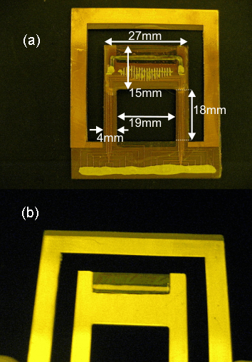 74 Figure 3.28. (a) Front-side and (b) backside views of MEMS display after integration with 1D PLED array. On the front side of the display, as shown in Fig. 3.28 (a), all the electrical connections made between PLED array and copper lines of FR4 using silver epoxy can be seen.