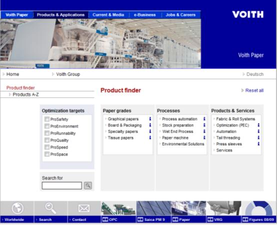 CASE VOITH :SOFISTIKOITU TUOTEVALINTAMALLI Key issues Information provision Product finder which helps user to identify his/her