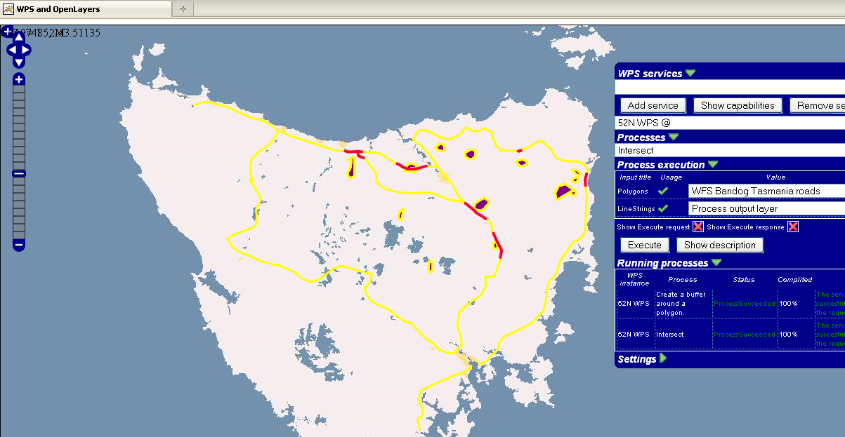 Towards Spatial Data Infrastructures in the Clouds 15 Fig. 6. Result (in red) of cloud enabled WPS intersecting buffered wild fires (violet) and road data (yellow) in Tasmania.