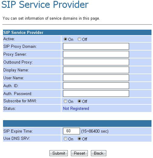 SIP Setting In the SIP settings sub menu you can setup the SIP Service Provider, Port Settings, Codec Settings, Codec ID Settings, DTMF Settings, RPort Setting and QoS.