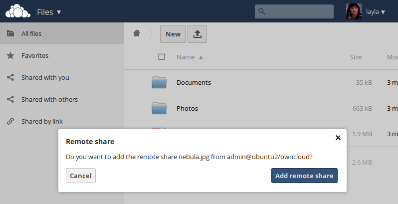 The link is created when your remote user confirms the share by clicking the Add remote share button.