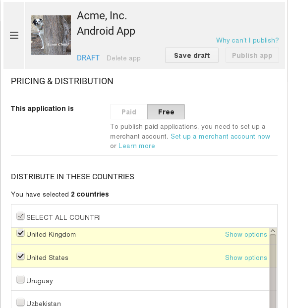 Now you may upload your app. Uploading to Google Play Store Now you can upload your app to your Google Play Store page.