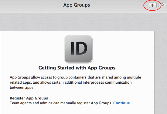 Create a description for your app group, and a unique identifier in the format group.