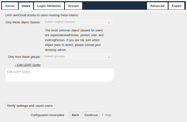 User Filter Use this to control which LDAP users are listed as owncloud users on your owncloud server. In order to control which LDAP users can login to your owncloud server use the Login filter.