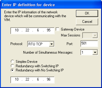 consecutive port numbers. For example, when configuring such a device in the VIMNet Explorer, specify the parameters as follows: Port 501 is used as the base port number.