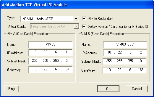 3.5 Configuring Redundant VIM Step 1 Right click on the Controller to Add Virtual I/O Module (VIM) placeholder.