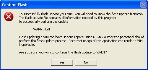 Click Flash Upgrade. A warning will appear as follows: Click Yes to start the flash process.