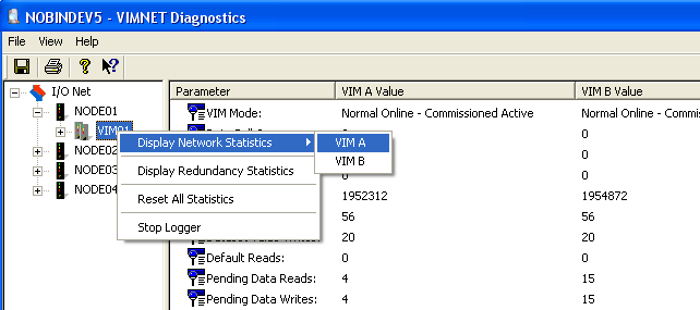 You can right click on the VIM to get a context menu. From this menu, you can clear all statistics by selecting Reset All Statistics. 4.
