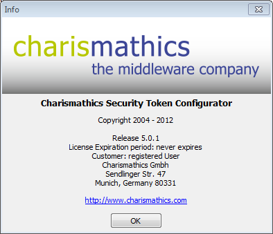 5.4 About For information about the version of the Register Tools and the manufacturer charismathics gmbh, select