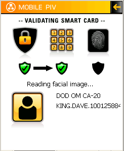 Validating PIN The key pad will appear. Enter the PIN. Tap on the Enter button.. Correct PIN If the PIN is correct the Reading facial image message will appear as the software reads the card.