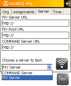 Server Tab PIV Server URL NOTE: The URL will be supplied by STI. PIV Root URL NOTE: The URL will be supplied by STI. COMMAND Server URL NOTE: The URL will be supplied by STI.