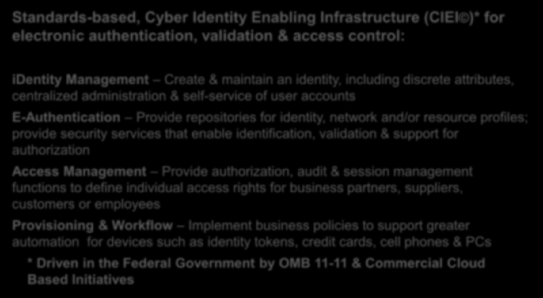 CyberApproach Standards-based, Cyber Identity Enabling Infrastructure (CIEI )* for electronic authentication, validation & access control: identity Management Create & maintain an identity, including
