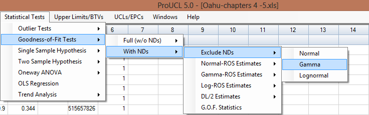 Output Result fr Lgnrmal Distributin (Exclude NDs) Selected ptins: Lilliefrs Test with Best Fit Line 8.3.2 Gamma Distributin Optin 1. Click Gdness-f-Fit Tests With NDs Excluded NDs Gamma 2.